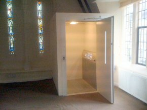 Wheelchair lift installed in a church